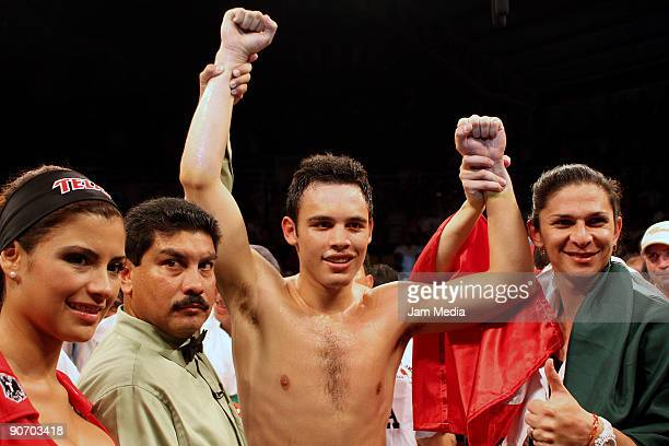 Mexico's Julio Cesar Chavez Jr celebrates the victory US Jason Le Houllier at the 10 round in the Super Welterweight during the function Furia Latina...