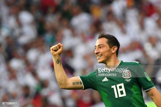 Mexico's midfielder Andres Guardado celebrates their 10 victory at the end of the Russia 2018 World Cup Group F football match between Germany and...