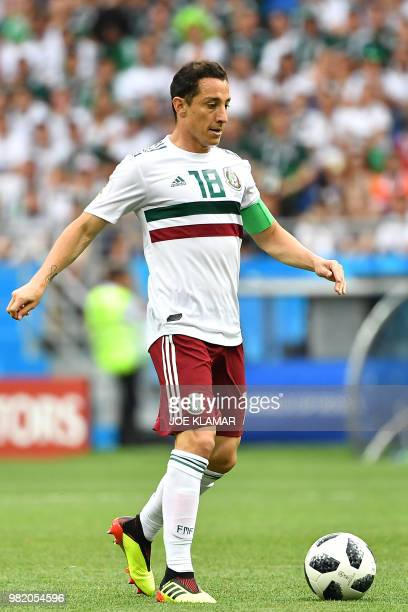 Mexico's midfielder Andres Guardado controls the ball during the Russia 2018 World Cup Group F football match between South Korea and Mexico at the...