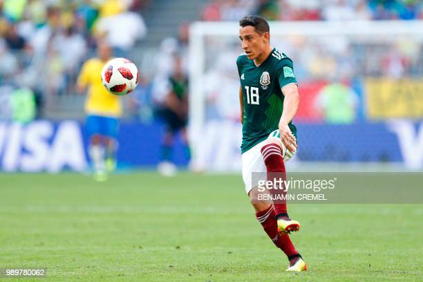 Mexico's midfielder Andres Guardado controls the ball during the Russia 2018 World Cup round of 16 football match between Brazil and Mexico at the...