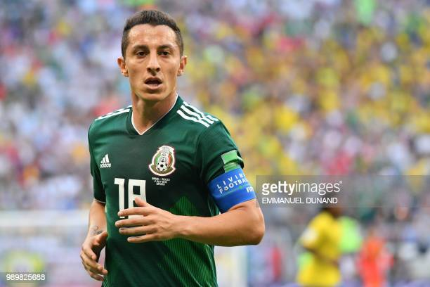 Mexico's midfielder Andres Guardado during the Russia 2018 World Cup round of 16 football match between Brazil and Mexico at the Samara Arena in...
