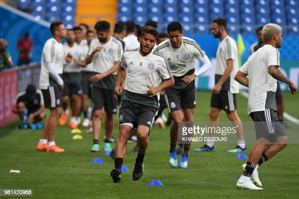 Mexico's midfielder Jonathan dos Santos takes part in a training session at the Rostov Arena on June 22 2018 in RostovOnDon on the eve of the Russia...