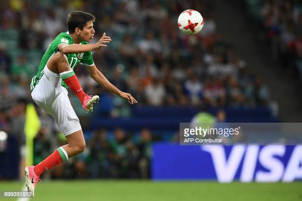 Mexico's midfielder Juergen Damm kicks the ball during the 2017 Confederations Cup group A football match between Mexico and New Zealand at the Fisht...