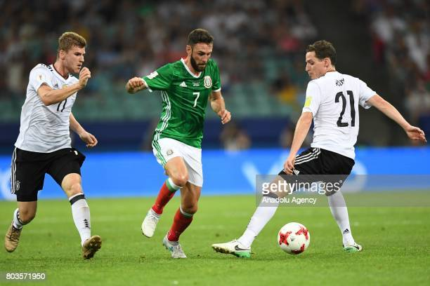 Mexico's Miguel Layun and Germany's Sebastian Rudy and Timo Werner during match the FIFA Confederations Cup 2017 between Germany and Mexico in Sochi...