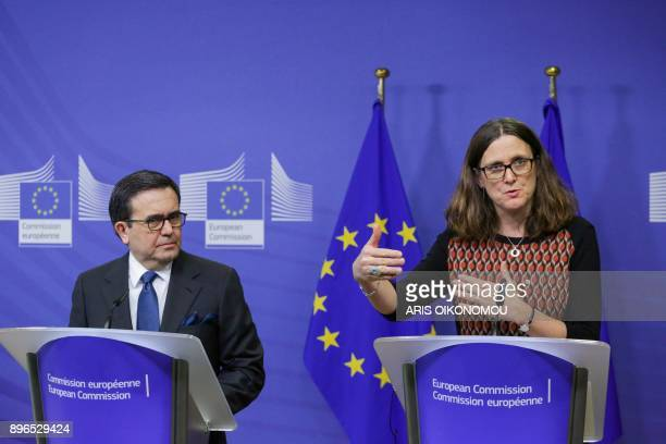 Mexico's Minister of Economy Ildefonso Guajardo and European Union Trade Commissioner Cecilia Malmstrom give a joint press conference after their...