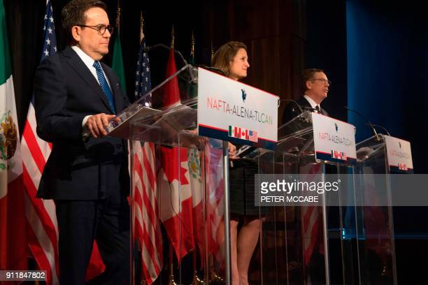 Mexico's Minister of Economy Ildefonso Guajardo Canadian Foreign Affairs minister Chrystia Freeland and US Trade Representative Robert Lighthizer...
