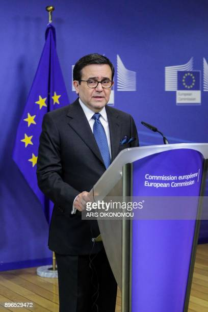 Mexico's Minister of Economy Ildefonso Guajardo gives a joint press conference with European Union Trade Commissioner after their meeting focused on...