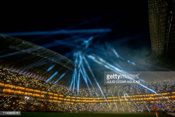 Mexico's Monterrey fans cheer for their team during the CONCACAF Champions League football match against Mexico's Tigres at the BBVA Bancomer stadium...