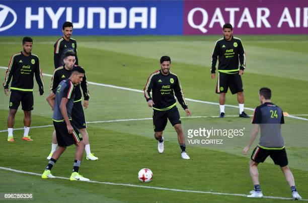 Mexico's national football team forward Carlos Vela and teammates attend a training session ahead of the 2017 FIFA Confederations Cup football...