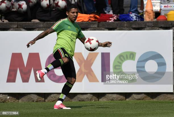 Mexico's national football team forward Javier Aquino takes part in a training session ahead of the World Cup qualifier against Honduras and the...