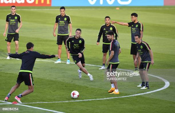 Mexico's national football team forward Javier Hernandez and teammates attend a training session ahead of the 2017 FIFA Confederations Cup football...