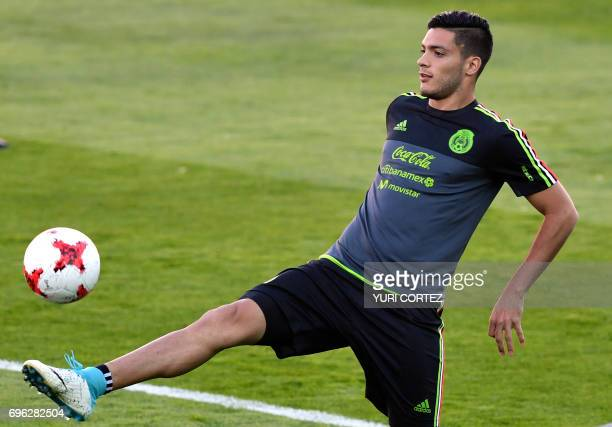 Mexico's national football team forward Raul Jimenez attends a training session ahead of the 2017 FIFA Confederations Cup football tournament in...