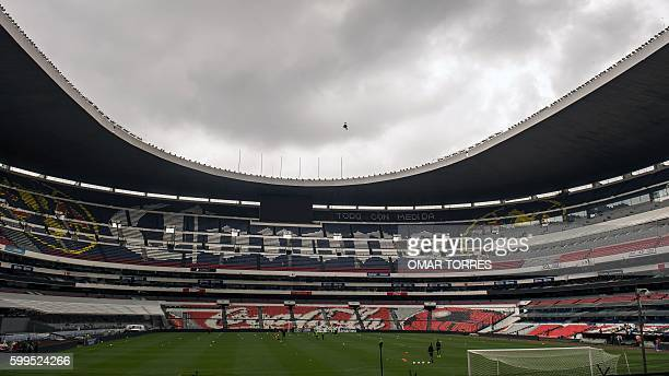 Mexico's national football team holds a training session at the Azteca stadium in Mexico City on September 5 2016 on the eve of their Russia 2018...