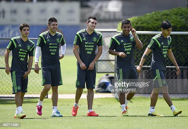 Mexico's national football team members from left to right Isaac Brizuela Oribe Peralta Hector Herrera Miguel Ponce and Allan Pulido walk on the...