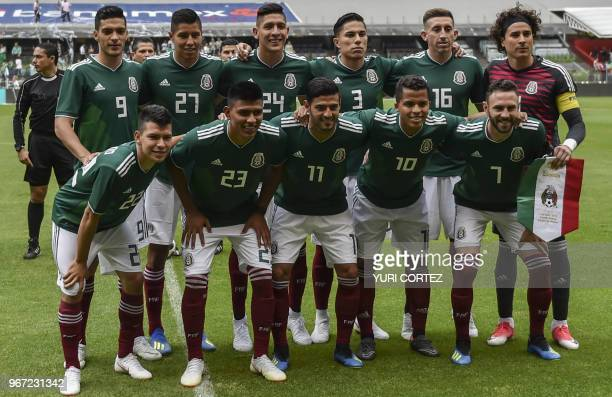 Mexico's national team footballers Raul Jimenez Hugo Ayala Edson Alvarez Carlos Salcedo Hector Herrera and Guillermo Ochoa and Hirving Lozano Jesus...
