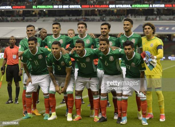 Mexico's national team pose for photos during their World Cup 2018 CONCACAF qualifiers football match against Honduras in Mexico City on June 8 2017...