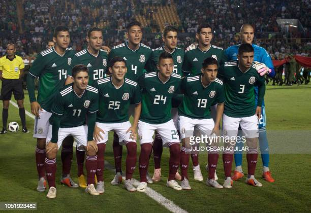 Mexico's national team poses for pictures before the start of their international friendly football match against Costa Rica at the Universitario...