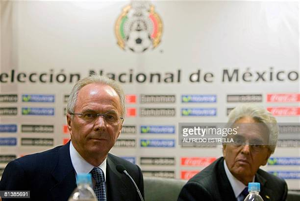 Mexico's new national football team coach Swedish SvenGoran Eriksson and Justino Compean President of the Mexican Federation of Football listen to a...