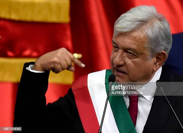 Mexico's new President Andres Manuel Lopez Obrador delivers a speech after being swornin at the Congress of the Union in Mexico City on December 1...