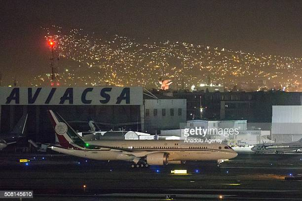 Mexico's new presidential plane Boeing 7878 Dreamliner Jose Maria Morelos arrives to Mexico City International Airport in Mexico on February 3 2016...
