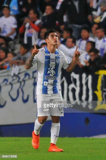 Mexico´s Pachuca Victor Garcia celebrates his goal against Costa Rica´s Deportivo Saprissa during the second leg quarterfinal of the CONCACAF...