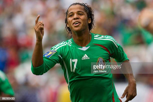 Mexico's player Giovani dos Santos celebrates a scored goal during the CONCACAF Gold Cup final match against USA at the Giant Stadium on July 26 2009...