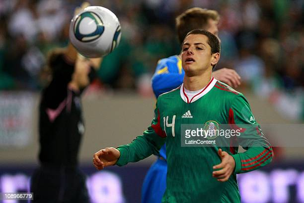Mexico's player Javier Hernandez in action during a friendly match between Mexico National Team and Bosnia National Team at the Georgia Dome on...