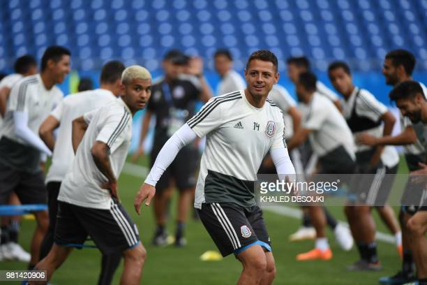Mexico's player Javier Hernandez takes part in a training session at the Rostov Arena on June 22, 2018 in Rostov-On-Don, on the eve of the Russia...