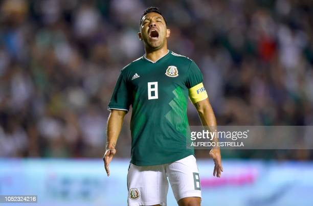 Mexico's player Marco Fabian reacts after failed against Chile during their friendly football match at the La Corregidora stadium in Queretaro Mexico...