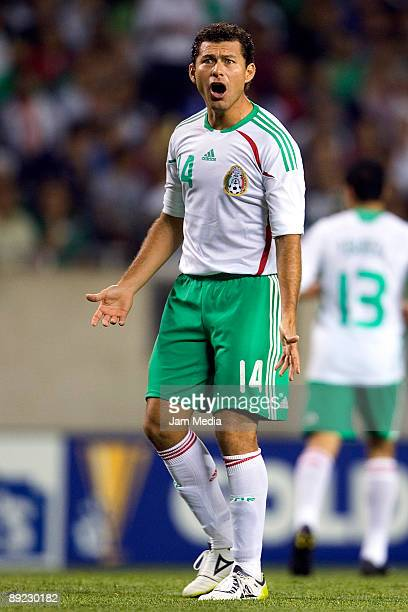 Mexico's player Miguel Sabah shouts during the 2009 CONCACAF Gold Cup match against Costa Rica at the Soldier Field Stadium on July 23 2009 in...
