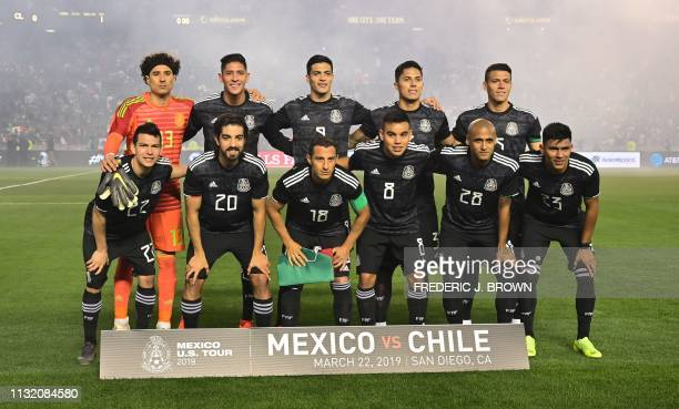 Mexico's players pose ahead of the international friendly football match against Chile at SDCCU Stadium in San Diego California on March 22 2019