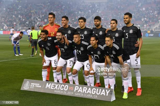 Mexico's players pose before the international friendly match between Mexico and Paraguay at Levi's Stadium in Santa Clara California on March 26 2019