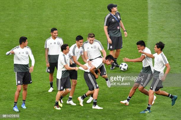 Mexico's players take part in a training session at the Rostov Arena on June 22 2018 in RostovOnDon on the eve of the Russia 2018 World Cup Group A...