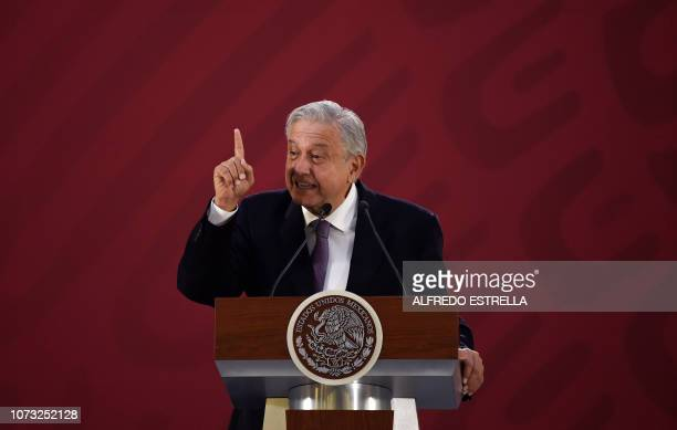 Mexico's President Andres Manuel Lopez Obrador delivers a press conference at the Palacio Nacional in Mexico City on December 14 2018