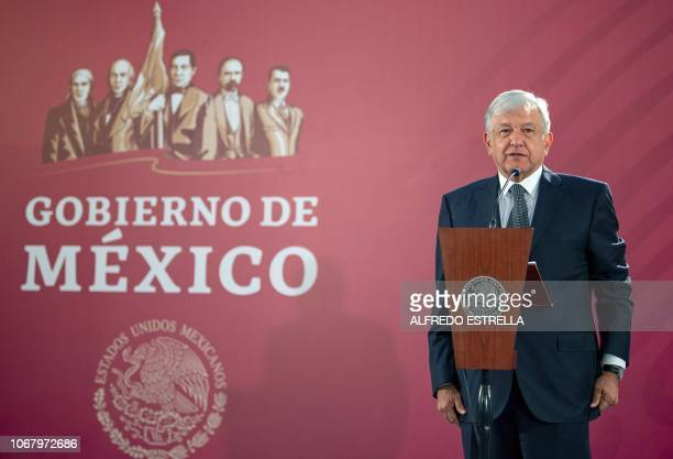 Mexico's President Andres Manuel Lopez Obrador gives his first press conference as president at the National Palace in Mexico City on December 3 2018...