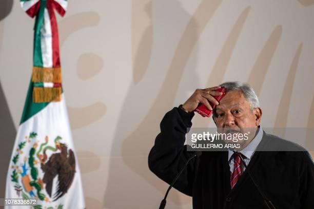 Mexico's President Andres Manuel Lopez Obrador presents the new economic programme for the northern border zone, in Tijuana, Baja California State,...