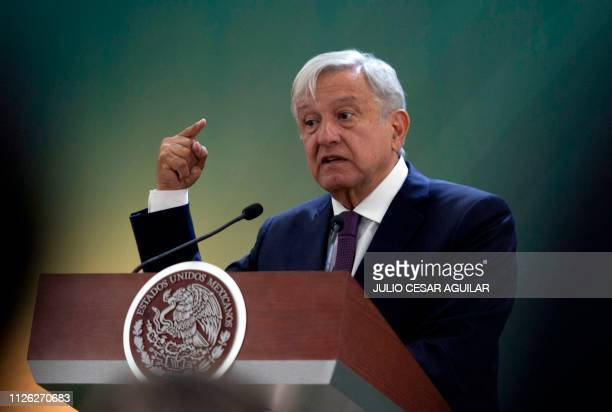 Mexico's President Andres Manuel Lopez Obrador speaks during a press conference in the seventh military zone in Monterrey Nuevo Leon on February 20...