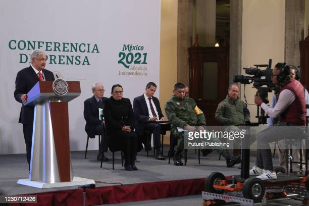 Mexicos president Andres Manuel Lopez Obrador speaks with the media during his daily morning press conference at National Palace on January 20, 2021...