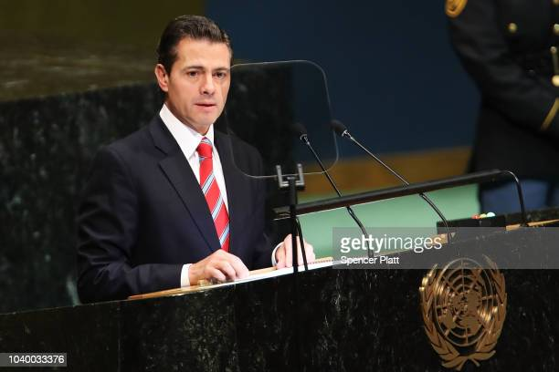 Mexico's President Enrique Pena Nieto addresses the 73rd United Nations General Assembly on September 25 2018 in New York City The United Nations...