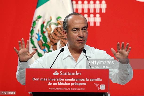 Mexico's President Felipe Calderon during his speech at the XVI Latin American Conference CEO Santander The President of Mexico Felipe Calderon...