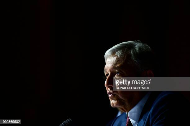 Mexico's Presidentelect Andres Manuel Lopez Obrador speaks during a press conference in Mexico City on July 5 2018 Lopez Obrador said Thursday he...