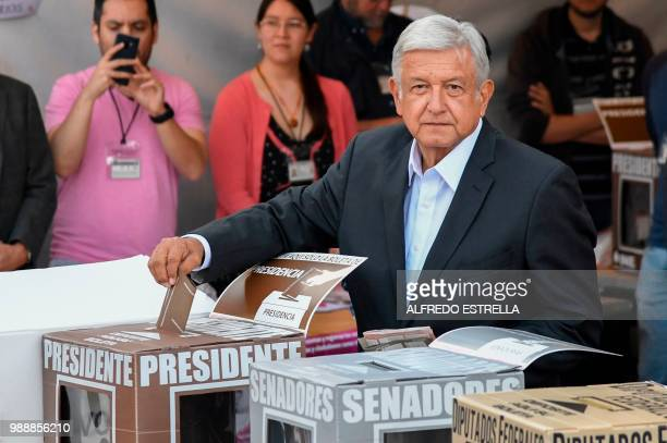TOPSHOT Mexico's presidential candidate Andres Manuel Lopez Obrador for the Juntos haremos historia party casts his vote during general elections in...