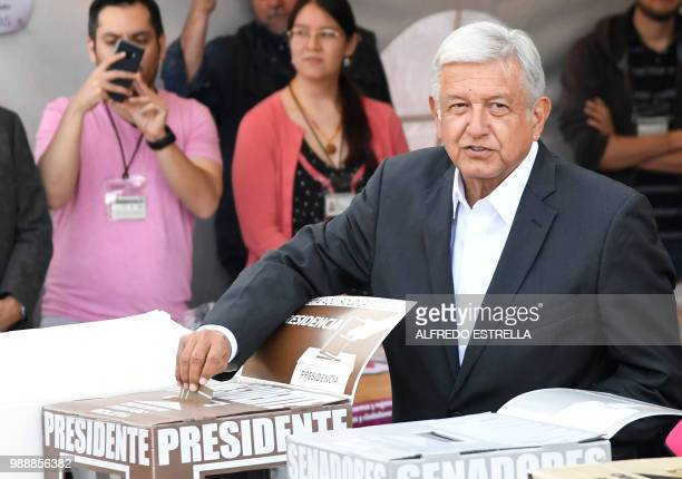 Mexico's presidential candidate Andres Manuel Lopez Obrador for the 'Juntos haremos historia' party casts his vote during general elections in Mexico...