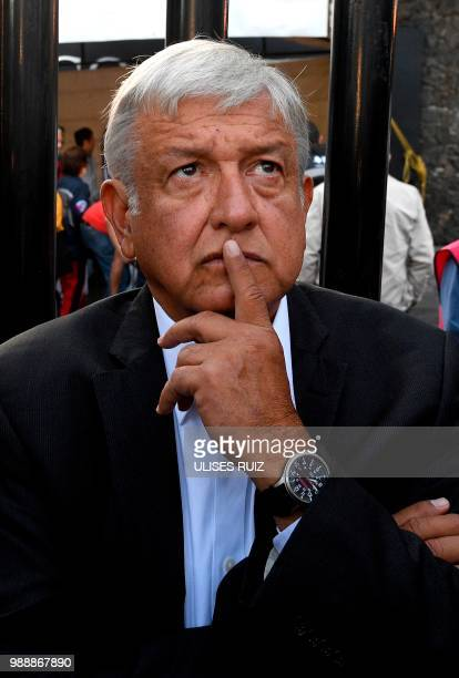 Mexico's presidential candidate Andres Manuel Lopez Obrador for the 'Juntos haremos historia' party gestures during general elections in Mexico City...