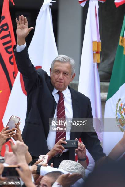 Mexico's presidential candidate Andres Manuel Lopez Obrador of MORENA party waves after presenting his registration at the Mexican Electoral Instiute...