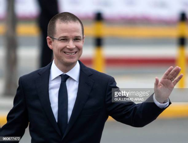 Mexico's presidential candidate for the 'Mexico al Frente' Coalition Ricardo Anaya waves upon arrival at the Universidad Autonoma de Baja California...