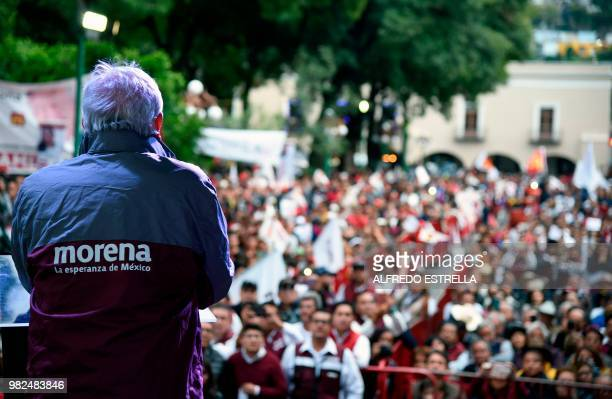 Mexico's presidential candidate for the MORENA party Andres Manuel Lopez Obrador speaks to supporters during a campaign rally in Tlaxcala Mexico on...