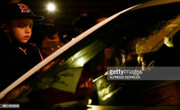 Mexico's presidential candidate for the MORENA party Andres Manuel Lopez Obrador greets supporters after campaign rally in Tlaxcala Mexico on June 23...