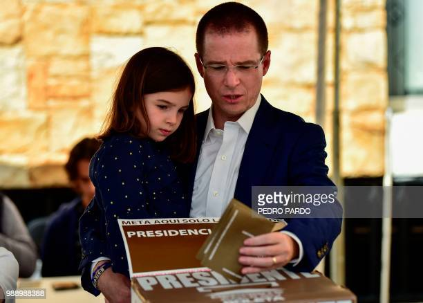 Mexico's presidential candidate Ricardo Anaya for the 'Mexico al Frente' coalition party casts his vote during general elections in Queretaro Mexico...