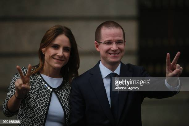 Mexico's presidential candidate Ricardo Anaya of the 'Por Mexico al Frente' coalition of the PAN-PRD parties, and his wife Carolina Martinez pose for...